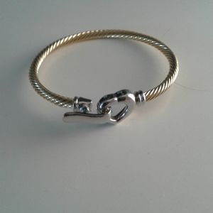 Gold and silver plated heart clasp bracelet